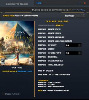 Assassin's Creed: Origins Trainer +13 v1.02 {LinGon}