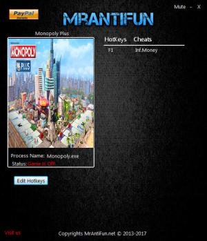 Monopoly Plus Trainer for PC game version v1.00