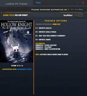 Hollow Knight Trainer +9 v1.2.1.4 {LinGon}