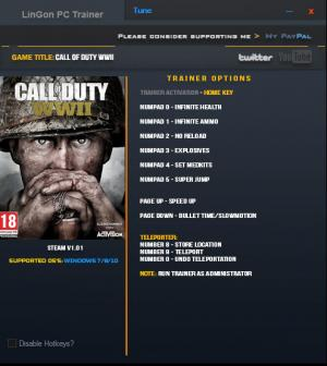 Call of Duty: WW2 Trainer for PC game version v1.01 Update 05.11.17