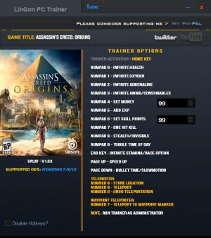 Assassin's Creed: Origins Trainer +15 v1.03 {LinGon}