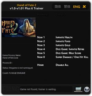 Hand of Fate 2 Trainer for PC game version v1.0 - 1.01