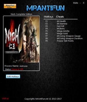 Nioh: Complete Edition Trainer for PC game version v1.21