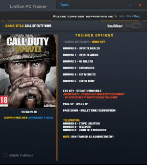 Call of Duty: WW2 Trainer +10 v1.03 Update 11.11.2017 {LinGon}