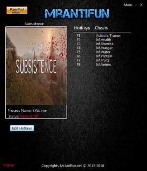 Subsistence Trainer for PC game version v11.12.2017