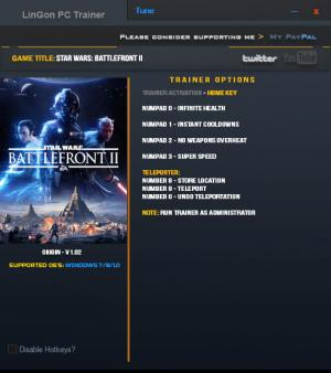 Star Wars: Battlefront 2 2017 Trainer +6 v1.02 {LinGon}