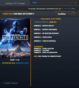 Star Wars: Battlefront 2 2017 Trainer +7 v1.02 Update 16 Nov 2017 {LinGon}