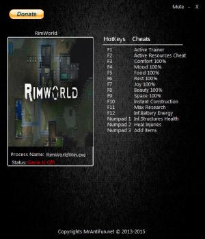 RimWorld Trainer for PC game version v0.18.1722
