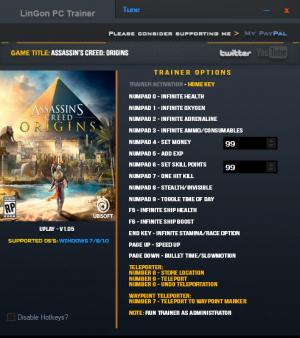 Assassin's Creed: Origins Trainer +18 v1.05 {LinGon}