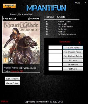 Mount and Blade: Warband Trainer +8 v1.172 {MrAntiFun}