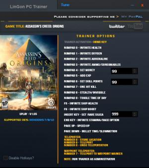 Assassin's Creed: Origins Trainer +19 v1.05 {LinGon}