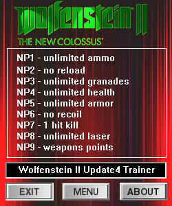 Wolfenstein 2: The New Colossus Trainer +8 v1.0  Update 4 {dR.oLLe}