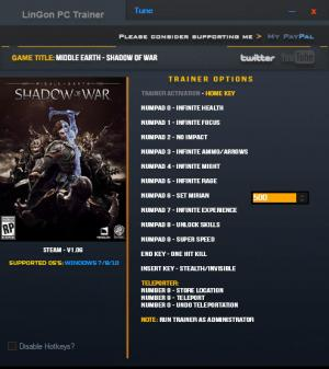 Middle-earth: Shadow of War Trainer +14 v1.06 {LinGon}