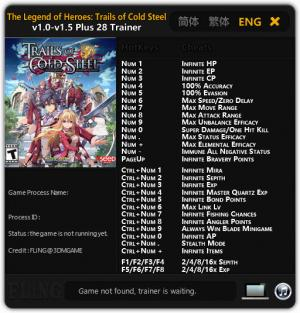 The Legend of Heroes: Trails of Cold Steel Trainer +28 v1.0 - 1.5 {FLiNG}