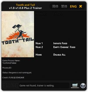 Tooth and Tail Trainer for PC game version v1.0 - 1.0.8