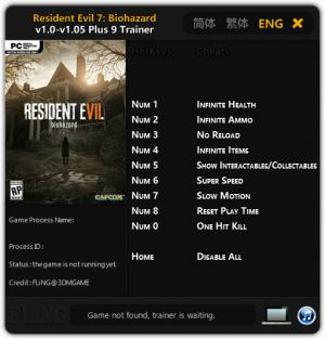 Resident Evil 7: Biohazard Trainer for PC game version v1.0 - 1.05