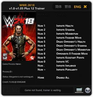 WWE 2K18 Trainer for PC game version v1.0 - 1.05