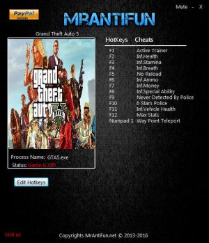 Grand Theft Auto 5 Trainer for PC game version v1.0.1290.1