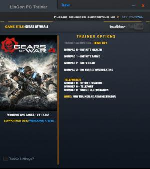 Gears of War 4 Trainer for PC game version v11.7.0.2