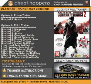 Company of Heroes 2 Trainer for PC game version 4.0.0.21748