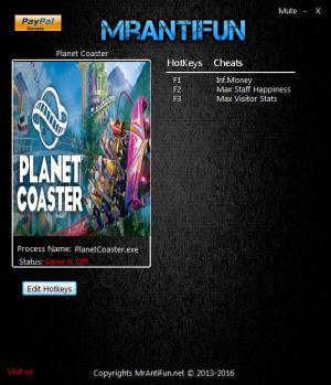 Planet Coaster Trainer for PC game version v1.5.0.49923