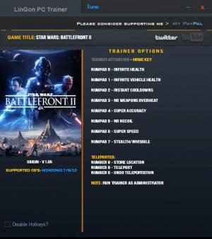 Star Wars: Battlefront 2 2017 Trainer +10 v1.05 {LinGon}