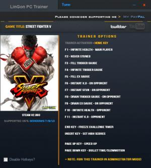 Street Fighter 5 Trainer +15 v2.090 {LinGon}