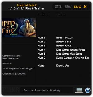 Hand of Fate 2 Trainer +6 v1.0 - 1.1.1 {FLiNG}