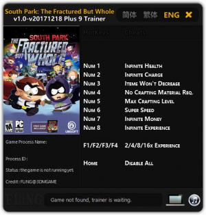 South Park: The Fractured but Whole Trainer +9 v1.0 - 2017.12.18 {FLiNG}