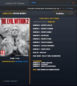The Evil Within 2 Trainer +12 v1.03 {LinGon}