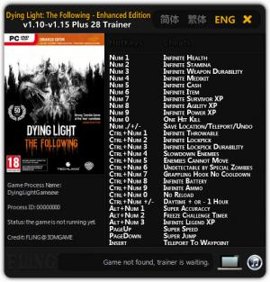 Dying Light: The Following - Enhanced Edition Trainer +28 v1.10 - 1.15 {FLiNG}