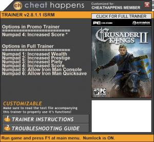 Crusader Kings 2 Trainer +6 v2.8.1.1 ISRM (Cheat Happens)