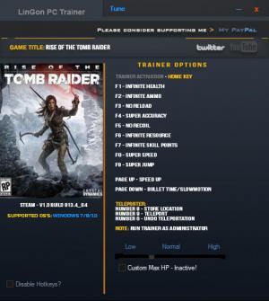 Rise of the Tomb Raider Trainer for PC game version v1.0 Build 813.4_64