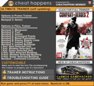 Company of Heroes 2 Trainer for PC game version 4.0.0.21799