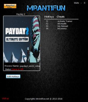 Payday 2 Trainer for PC game version v1.86.496