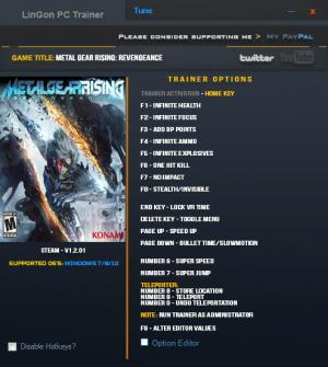 Metal Gear Rising: Revengeance Trainer for PC game version v1.2.01