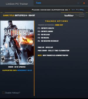 Battlefield 4 Trainer +7 Update Jan 2018 64bit {LinGon}