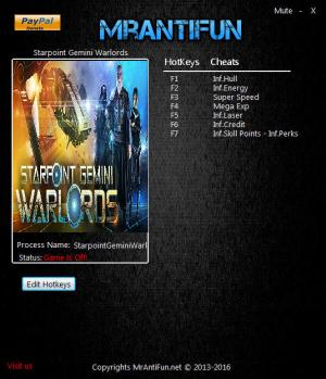 Starpoint Gemini Warlords Trainer for PC game version v1.800.1