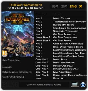 Total War: Warhammer 2 Trainer +18 v1.0 - 1.3.0 {FLiNG}