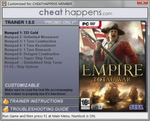 Empire: Total War Trainer for PC game version v1.5.0 Build 1332.21992