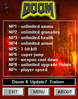 Doom 2016 Trainer for PC game version v1.07