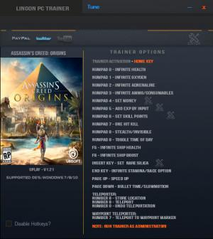 Assassin's Creed: Origins Trainer for PC game version v1.21