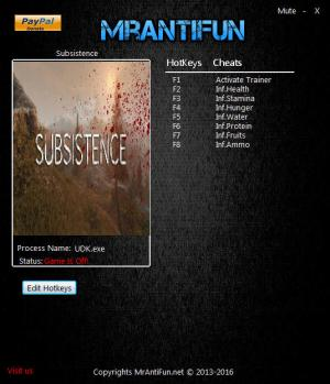 Subsistence Trainer for PC game version v01.28.2018