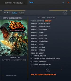 Battle Chasers: Nightwar Trainer +15 v23731 {LinGon}