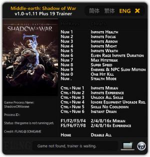 Middle-earth: Shadow of War Trainer for PC game version v1.0 - 1.11