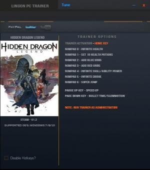 Hidden Dragon: Legend Trainer for PC game version v1.2