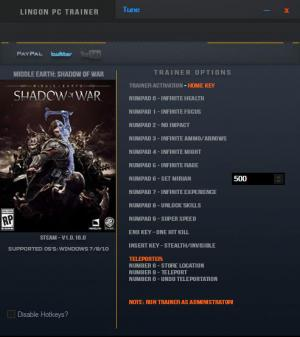 Middle-earth: Shadow of War Trainer for PC game version v1.0.16.0