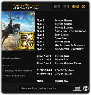 Dynasty Warriors 9 Trainer +14 v1.0 {FLiNG}