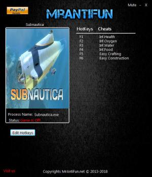 Subnautica Trainer +6 Build 59783 64-bit {MrAntiFun}