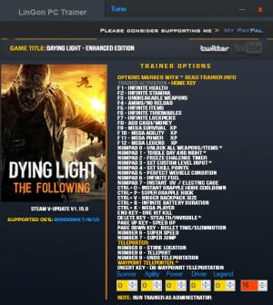Dying Light: The Following - Enhanced Edition Trainer for PC game version v1.15.0  Update 16 Feb 2018